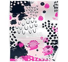 Jiri - Abstract painting in modern fresh colors navy, blush, cream, white, and gold decor girly Poster