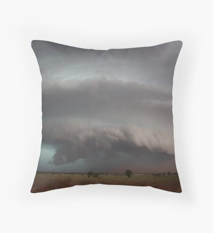 Supercell with developing microburst and raised dust Throw Pillow