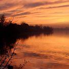 Misty Sunset on the River by Johanne Brunet