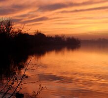 Misty Sunset on the River by Johanne Brunet
