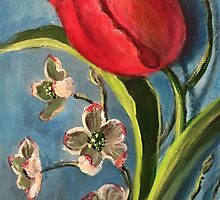 Tulip and Dogwoods by Randy  Burns