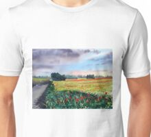 Poppies on Forty Acres Farm near Easingwold Unisex T-Shirt