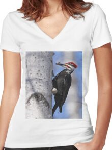 Male Pileated Woodpecker - Ottawa, Ontario Women's Fitted V-Neck T-Shirt