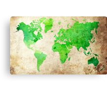 Green Map of the World - World Map for your walls Canvas Print
