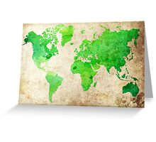 Green Map of the World - World Map for your walls Greeting Card