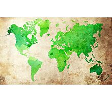 Green Map of the World - World Map for your walls Photographic Print