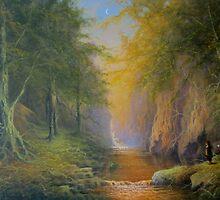 Tree beard Merry and Pippin  In Fangorn by Joe Gilronan
