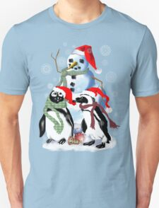 Christmas Penquin and Snowman T-Shirt
