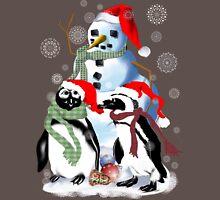 Christmas Penquin and Snowman Long Sleeve T-Shirt