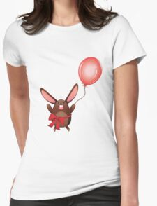 Chocolate Bunny with Balloon 2 Womens Fitted T-Shirt