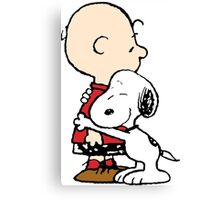 Charlie hugs Snoopy Canvas Print