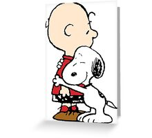 Charlie hugs Snoopy Greeting Card