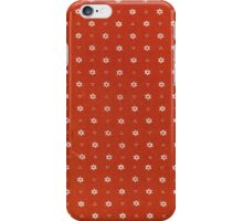 Vintage red fabric with small white flowers iPhone Case/Skin