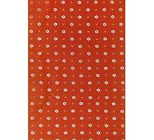 Vintage red fabric with small white flowers Photographic Print