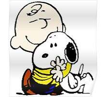 Charlie Brown hugs Snoopy Poster