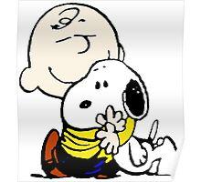 Charlie Brown hugs Snoopy Poster