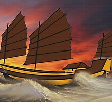 Chinese Junk in Rough Seas by Dennis Melling