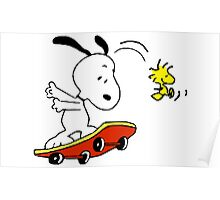 Snoopy on skate Poster