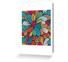 Abstract Retro Flowers Design Greeting Card