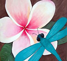 Tropical Frangipani and Dragonfly by Maurz