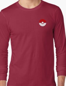 Subtle pokeball pokemon logo red and black - no words Long Sleeve T-Shirt