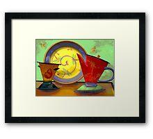 Still life: plate, pitcher, cup Framed Print