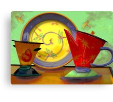 Still life: plate, pitcher, cup Canvas Print