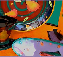 Still life: plate, serving dish, cup..... by Jeff Burgess
