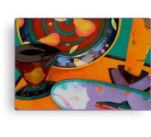 Still life: plate, serving dish, cup..... Canvas Print
