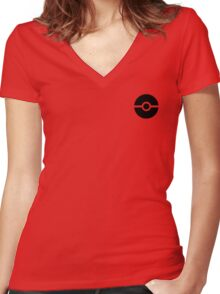 Subtle pokeball pokemon logo black - no words Women's Fitted V-Neck T-Shirt