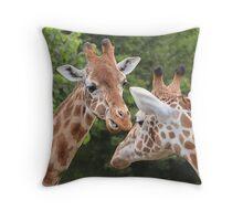 """You talking to me?"" - Giraffe Throw Pillow"