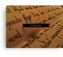 'I miss you...' Letter and Tears Canvas Print