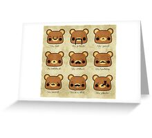Bear with many moustaches Greeting Card