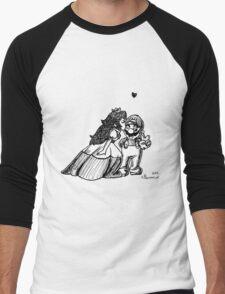 Peach and Mario Valentines Men's Baseball ¾ T-Shirt
