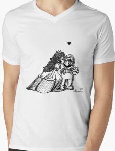 Peach and Mario Valentines Mens V-Neck T-Shirt