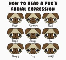 The many facial expressions of a pug Kids Clothes