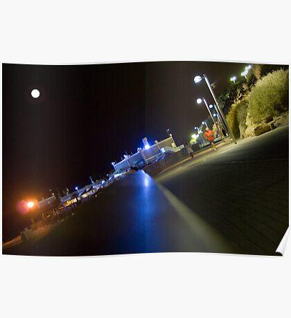 Tel Aviv sea promenade at night Poster