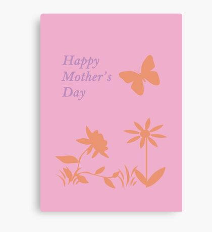 Mother's Day Pastel Nature Silhouette Canvas Print