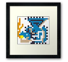 Pixel Azure Rathalos Framed Print