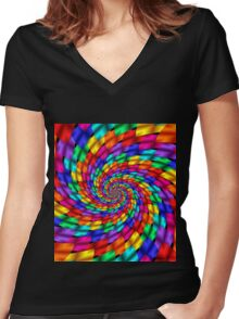 Psychedelic Ribbons Women's Fitted V-Neck T-Shirt