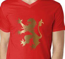Rampant Lion Gold Mens V-Neck T-Shirt