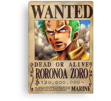 Wanted Zoro - One Piece Canvas Print