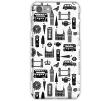 London Block Print - Black and White by Andrea Lauren iPhone Case/Skin