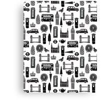 London Block Print - Black and White by Andrea Lauren Canvas Print