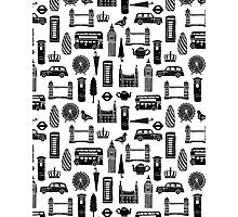 London Block Print - Black and White by Andrea Lauren Photographic Print