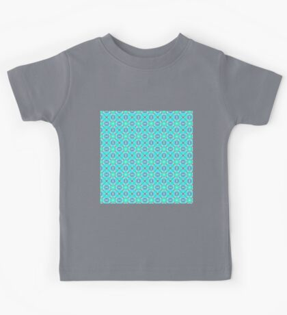 Elegant Blue Teal Abstract Modern Foliage Leaves Pattern Kids Tee
