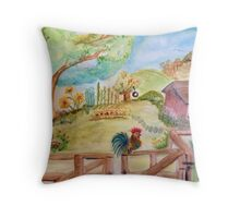 Rooster and Rabbit Sweet Summer Morning Throw Pillow