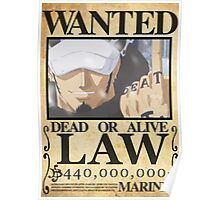 Wanted Trafalgar Law - One Piece Poster