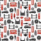 London Block Print - Black and Red by Andrea Lauren by Andrea Lauren