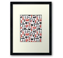London Block Print - Black and Red by Andrea Lauren Framed Print